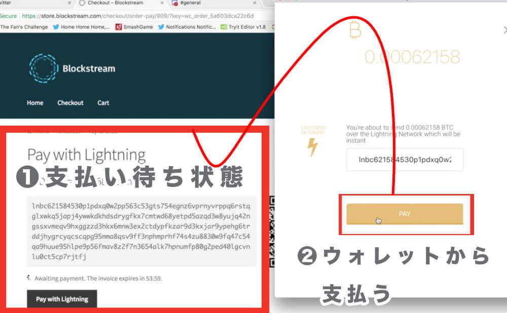 ライトニングネットワーク開発者である Jack Mallers さんが「支払い待ち」の画面から秒速で送金を済ましてしまうLN決済のシミュレーション動画を切り取った画像1