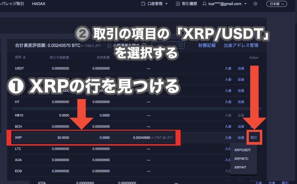 Huobiで届いた「 XRP 」を「 USDT 」として売るの操作手順画像2