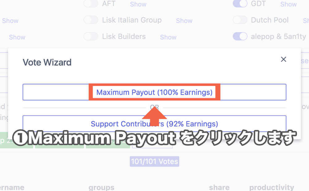 「 Maximum Payout 」をクリックします。