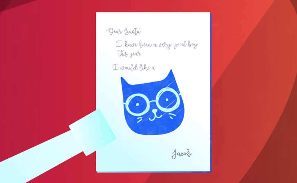 子供がサンタさんに猫が欲しいとハガキを出します。