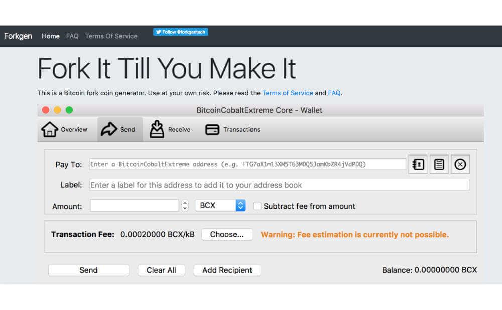 誰でもハードフォークができるWebサービス Forgen