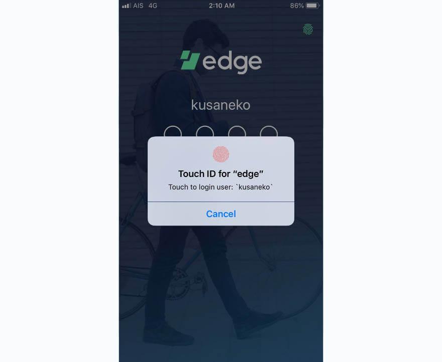 Edge 指紋認証