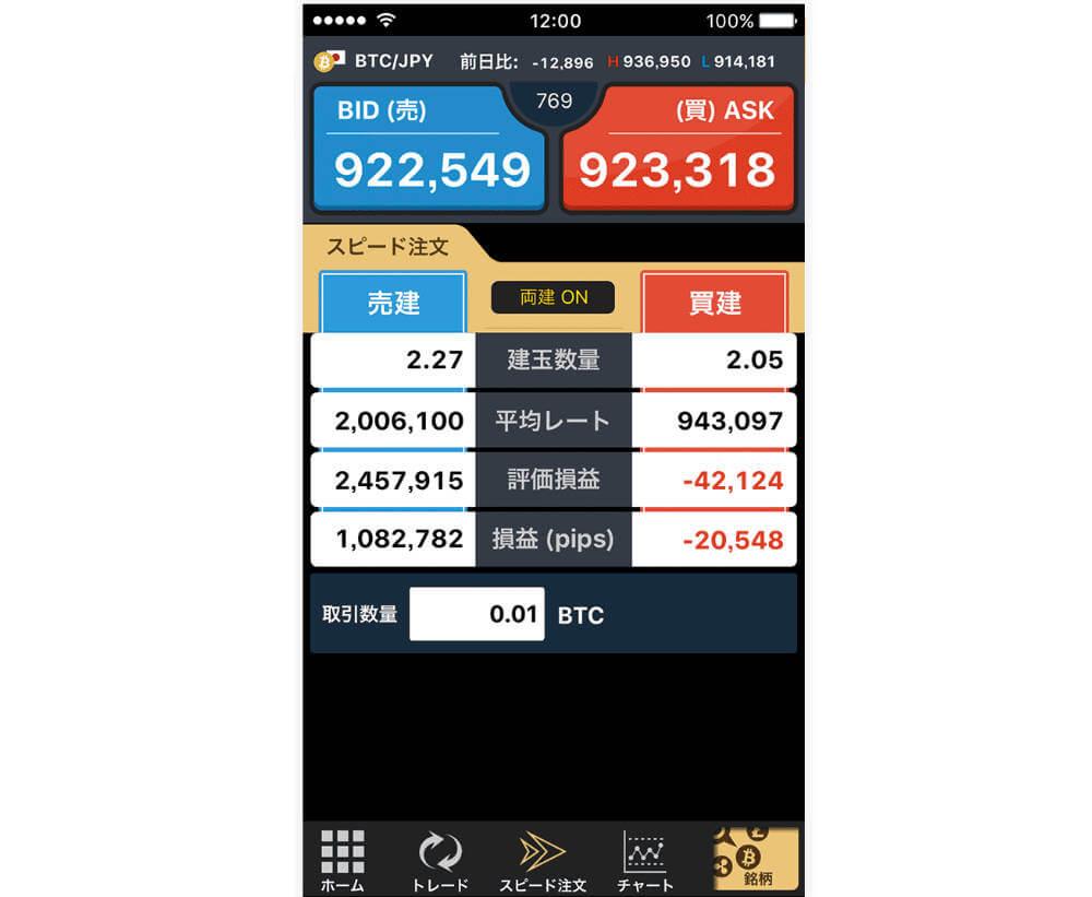仮想通貨FXに関してはアプリの方が見やすいの画像