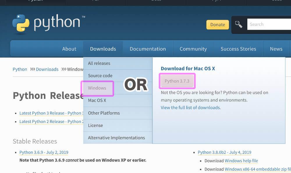Windows Pythonダウンロード