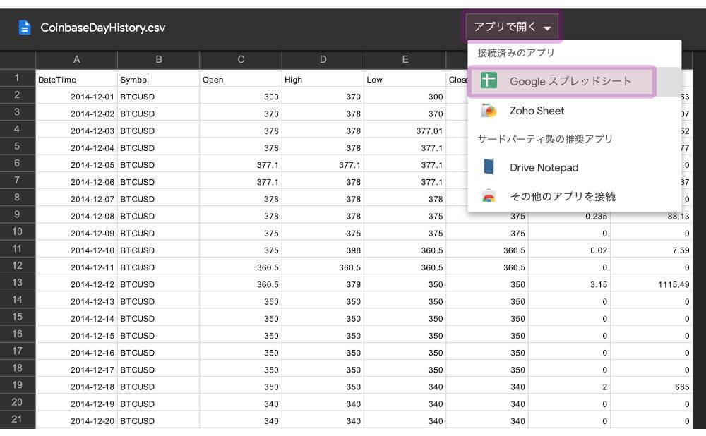 CSVデータのダウンロード手順1